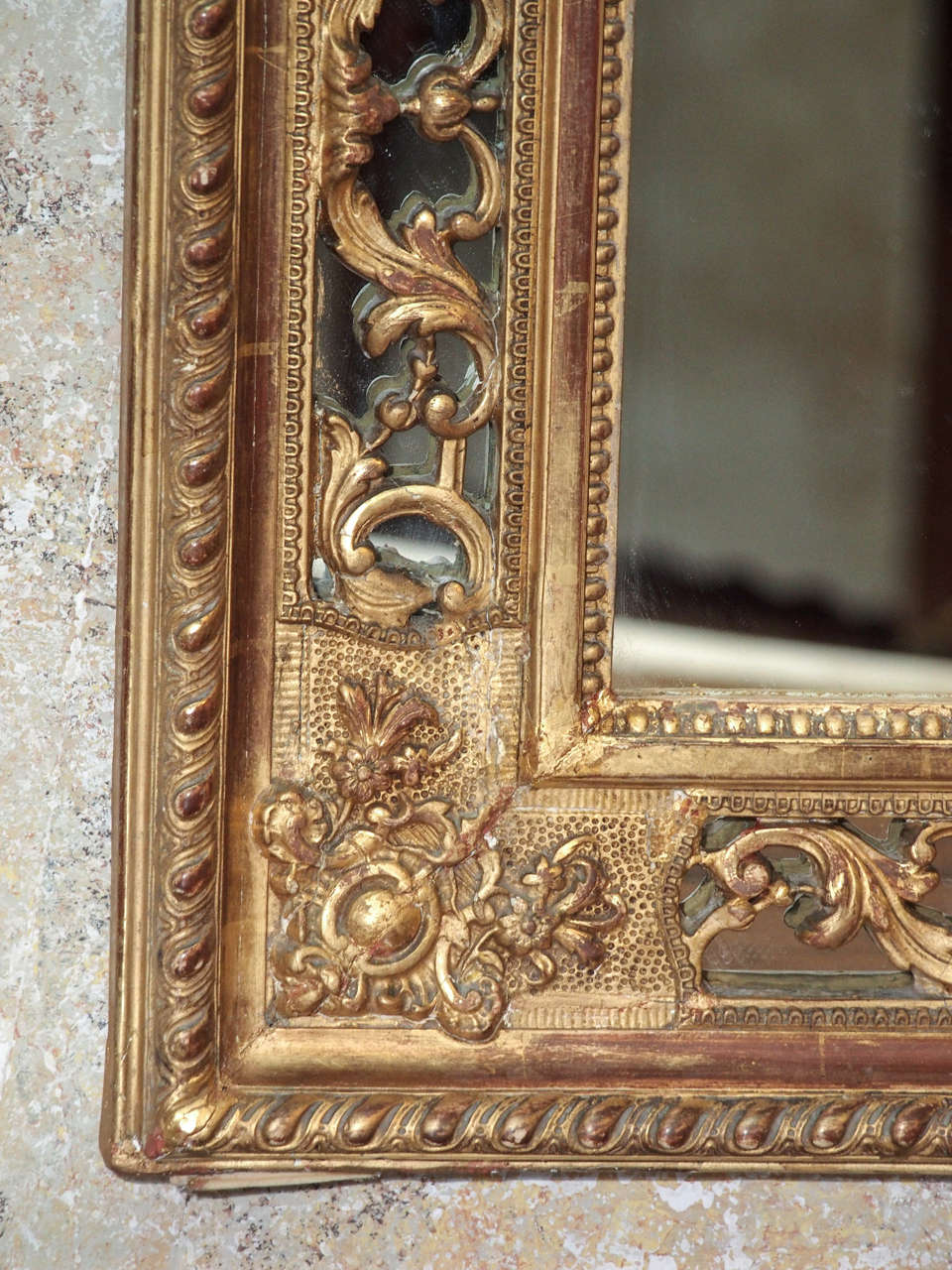 19th Century French Gold Leaf Mirror 6