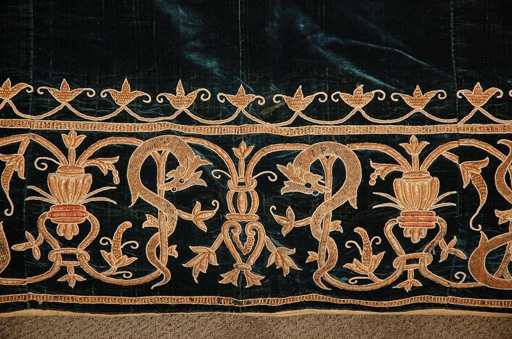 19th C. Stunning Embroidered Silk Velvet Coverlet/Tapestry image 6