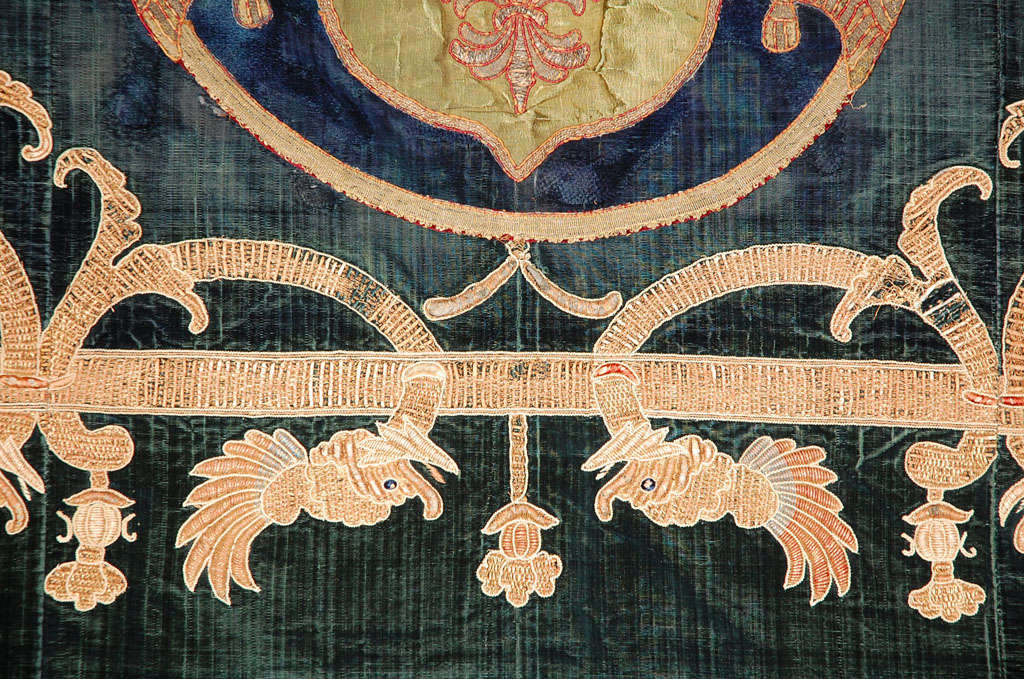 19th C. Stunning Embroidered Silk Velvet Coverlet/Tapestry image 9