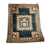 19th C. Stunning Embroidered Silk Velvet Coverlet/Tapestry