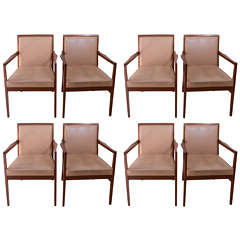 8 English 1960s Scandinavian Modern Design Leather Armchairs
