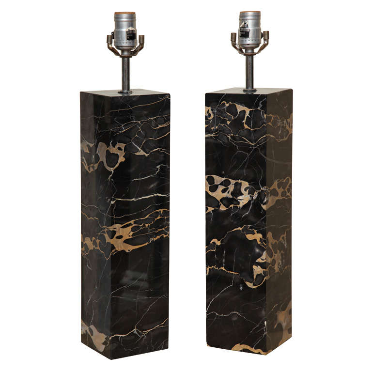 Nice A Pair Of Robert Sonneman Square Black Marble Table Lamps For Sale