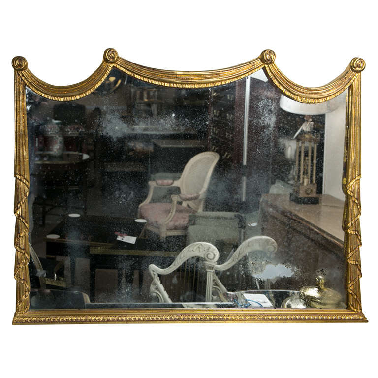 Gilt wood over the mantle mirror at 1stdibs for Mantle mirror