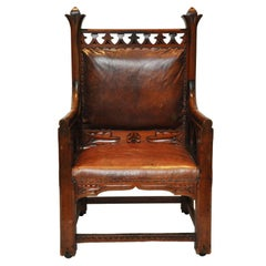 Gothic Oak Chair, Harding and Sons, Plymouth England, 1870