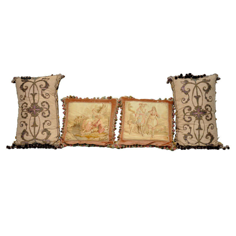 Pair of Italian Silk Pillows and French Aubusson Pillows