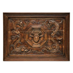 Unique Hand Carved Walnut Plaque with Crest and Dragon Design, France, 1880
