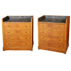 Late 19th Century Pair of Swedish Faux Marble-Top Chests of Drawers