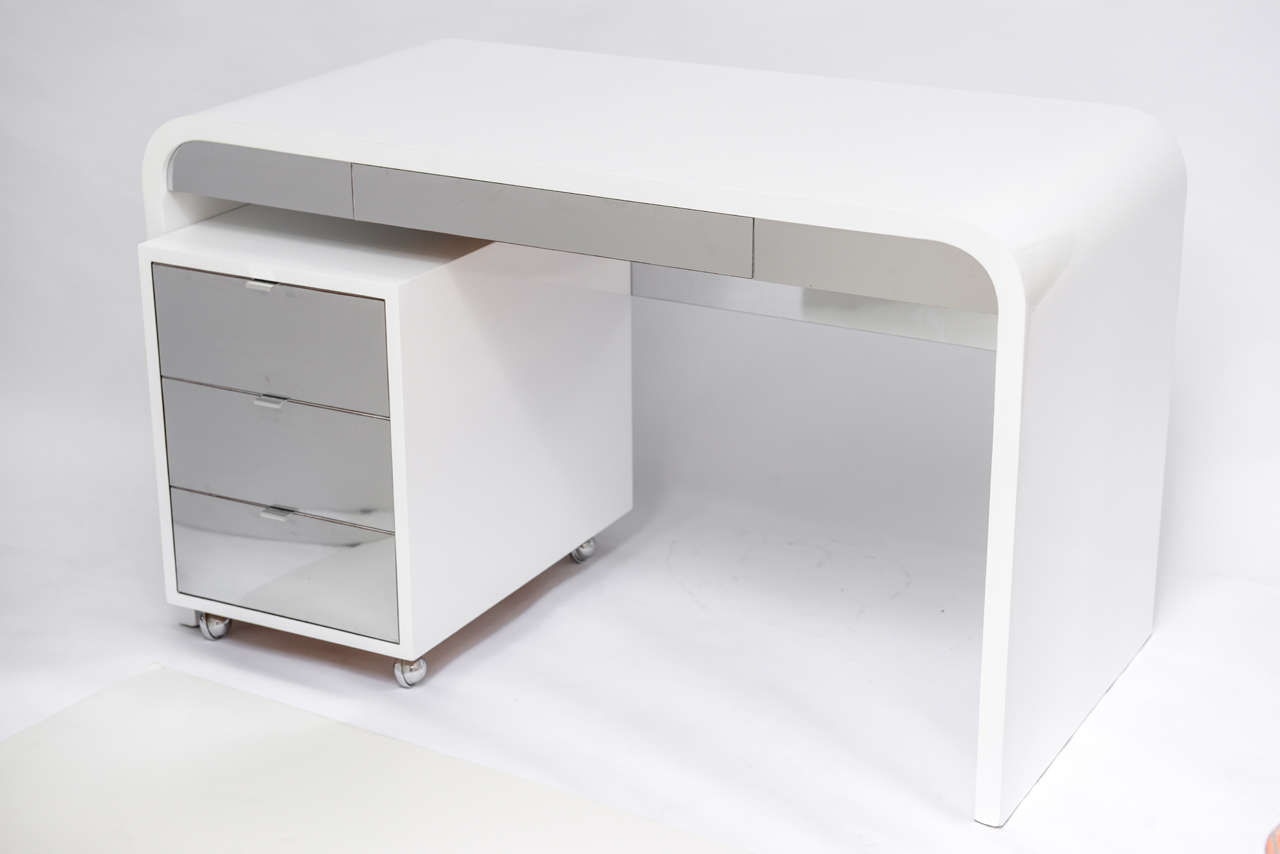 1970 s Waterfall Desk White Laquered and Chrome Laminate
