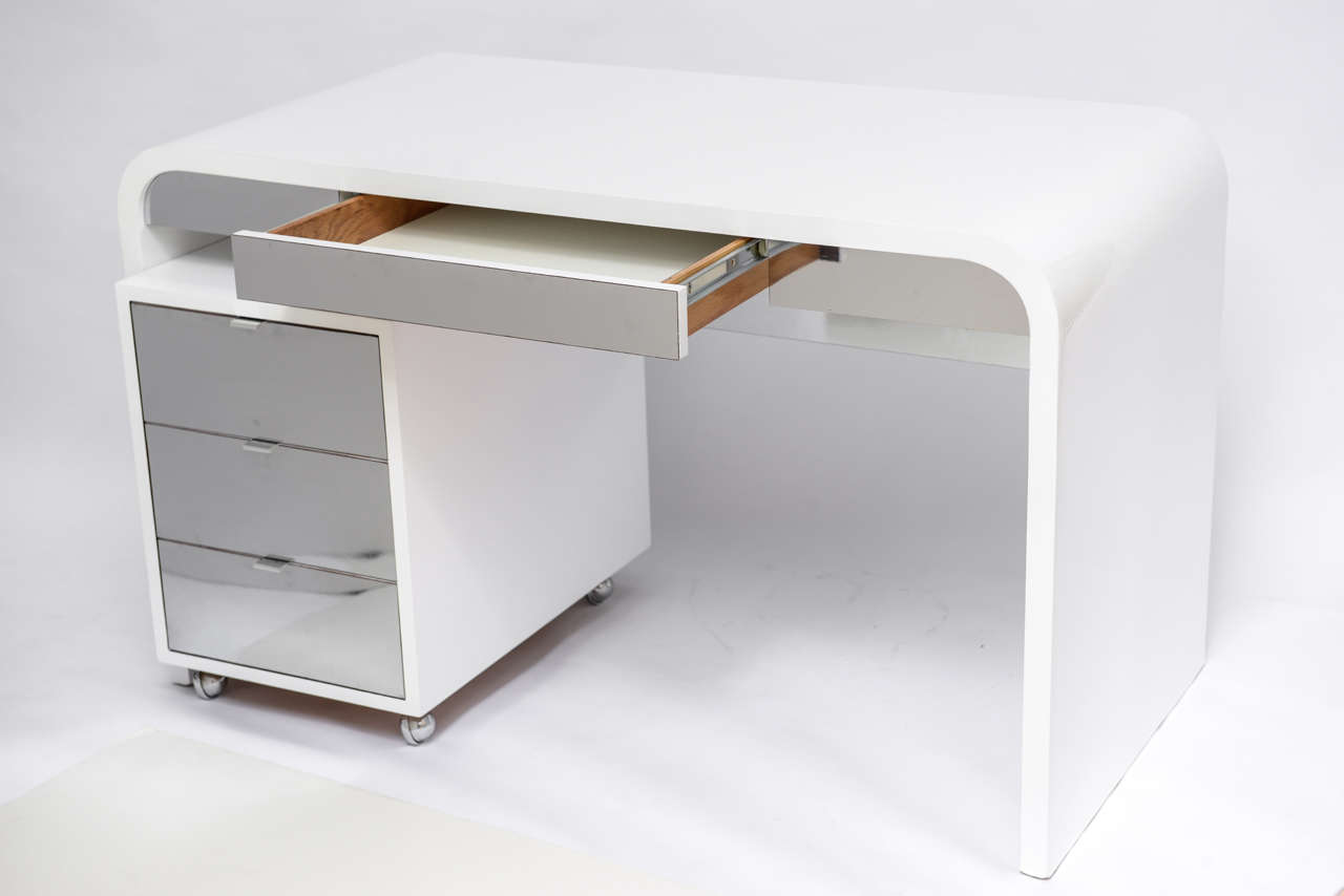Mid Century Modern 1970 S Waterfall Desk White Laquered And Chrome Laminate For