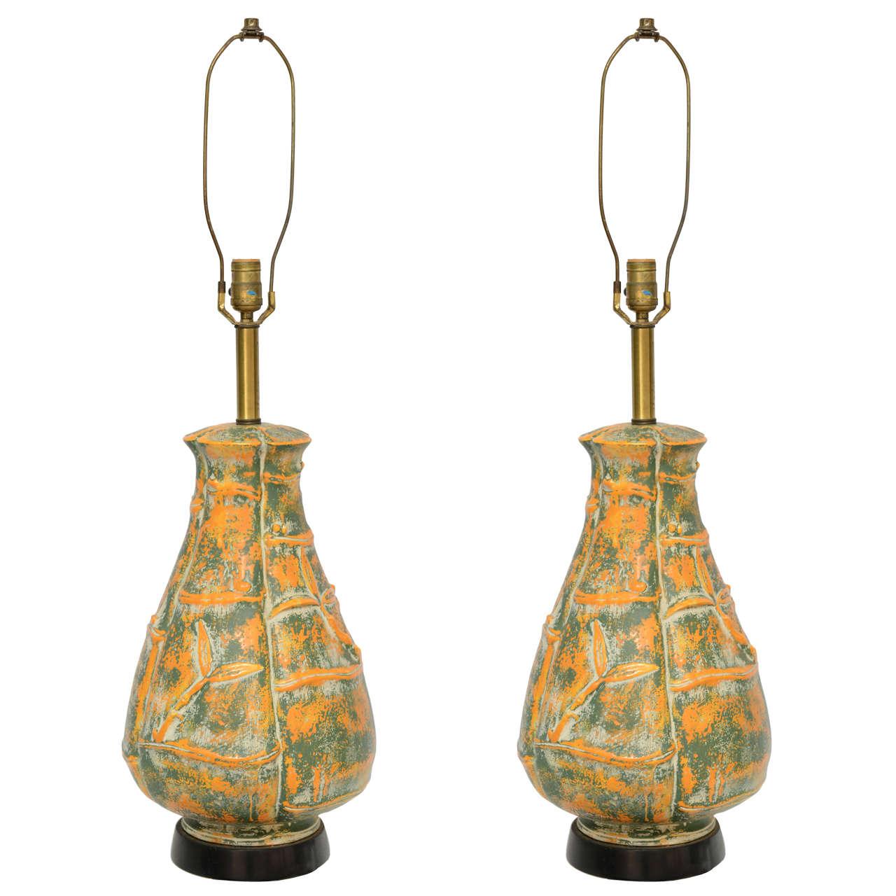 Beautiful Large Mid-Century Orange and Green Bamboo Motif Pattern
