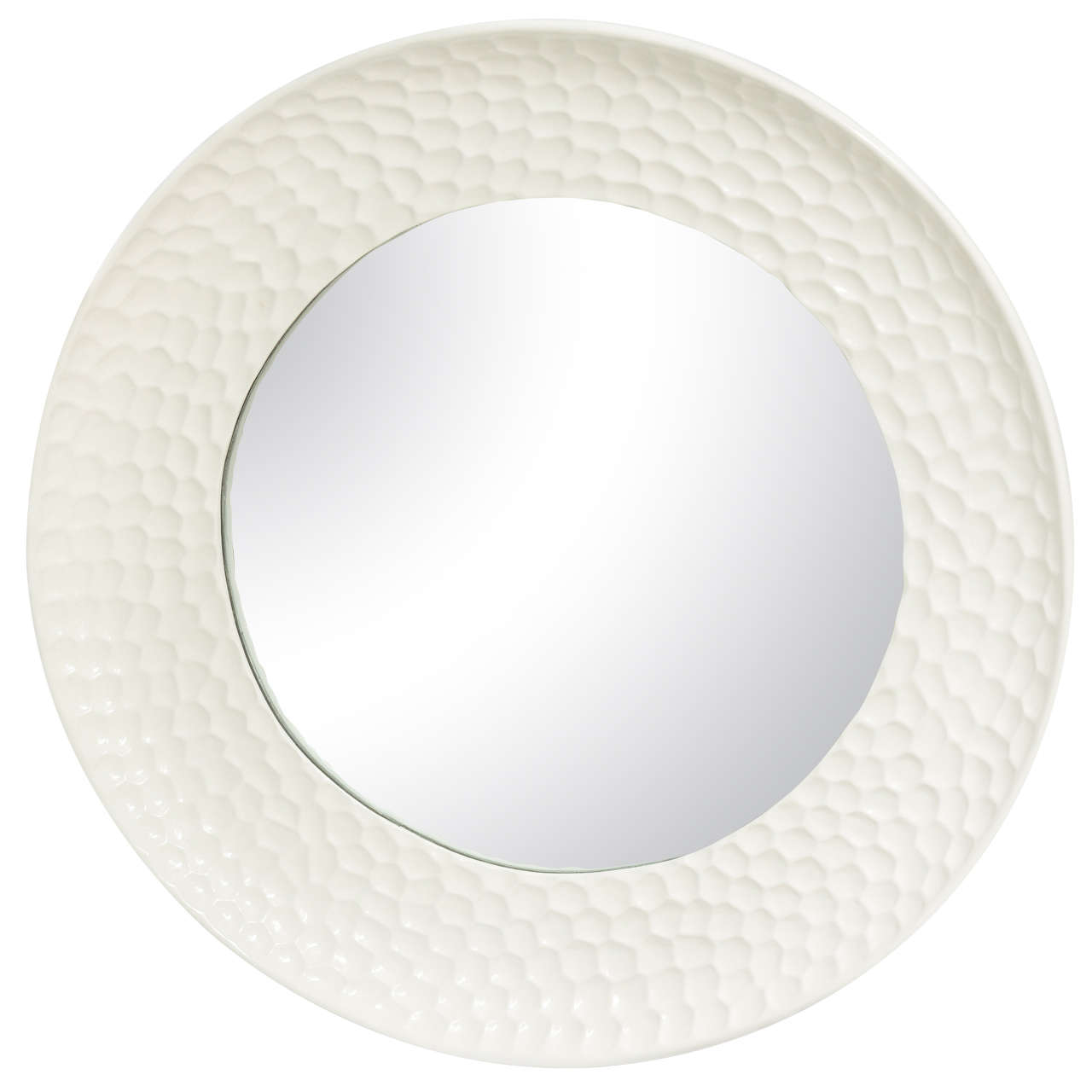 Round high gloss white lacquered mirror for sale at 1stdibs for White round wall mirror