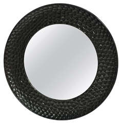 Round High Gloss Black Lacquered Mirror