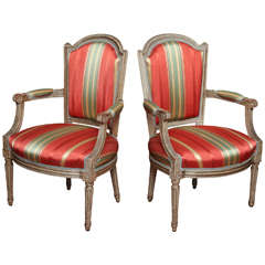 Set of Four Louis XVI Period Gray Painted Fauteuils, circa 1785