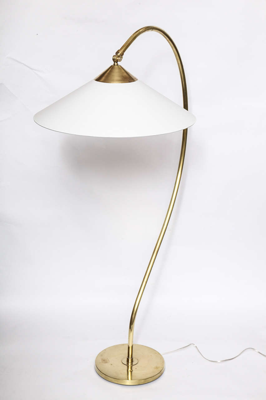 A 1930 39 s american modernist brass floor lamp by kurt for 1930s floor lamp