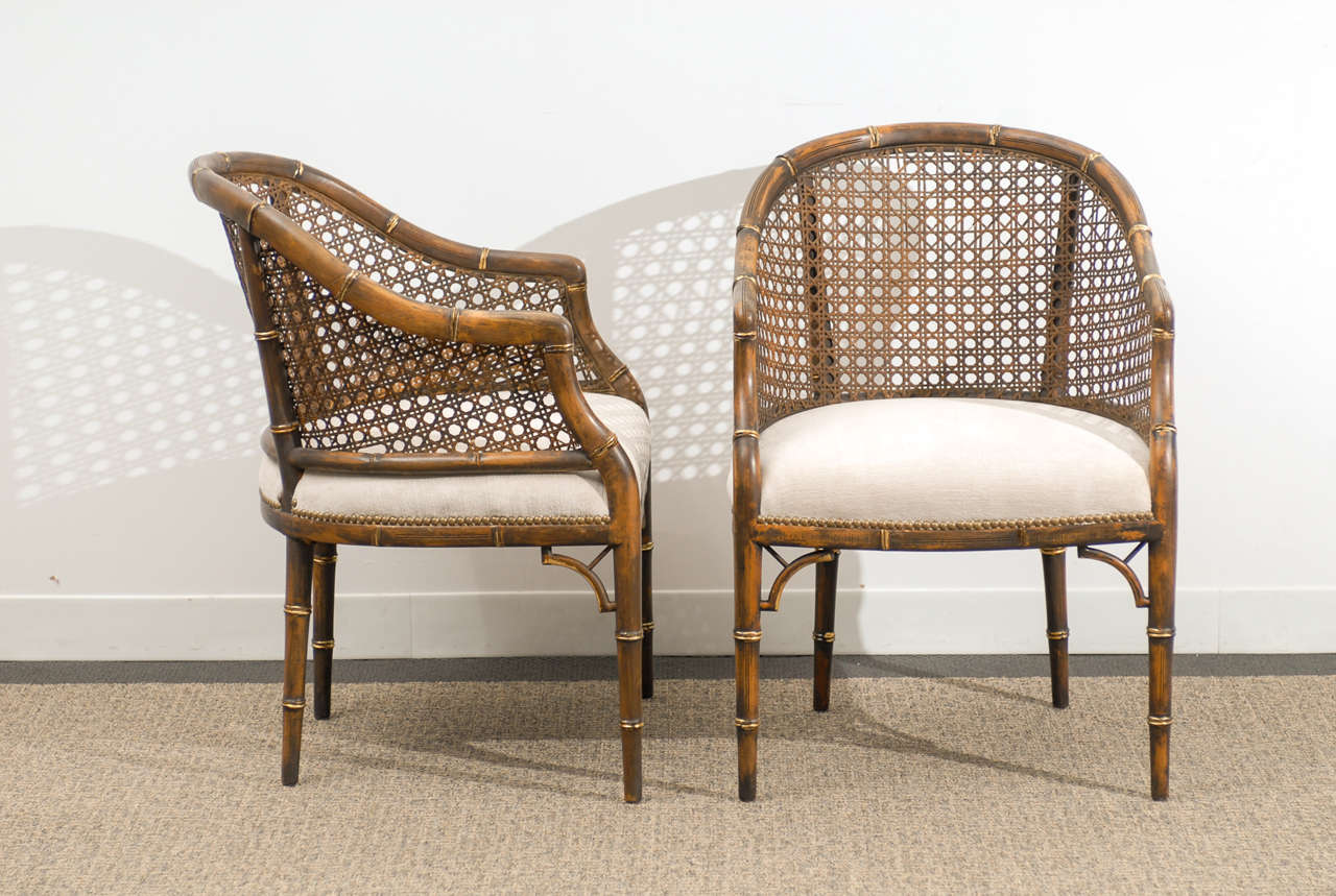 Beautiful Vintage Faux BambooCane Barrel Back Chairs 4