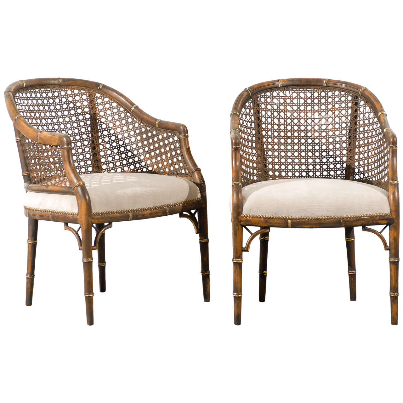 Beautiful Vintage Faux Bamboo/Cane Barrel Back Chairs   4 Available For Sale
