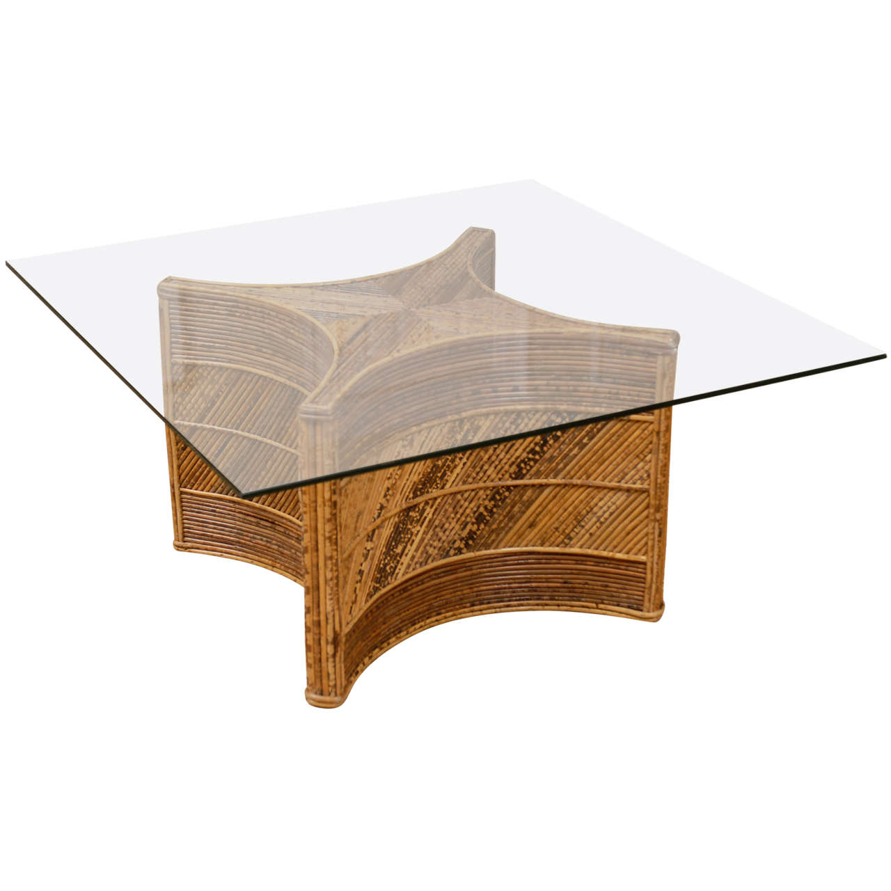 Elegant Vintage Bamboo Coffee Table