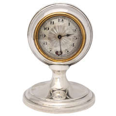 """Unusual Art Deco Sterling Silver """"Ball"""" Shaped Clock With Pendulum"""