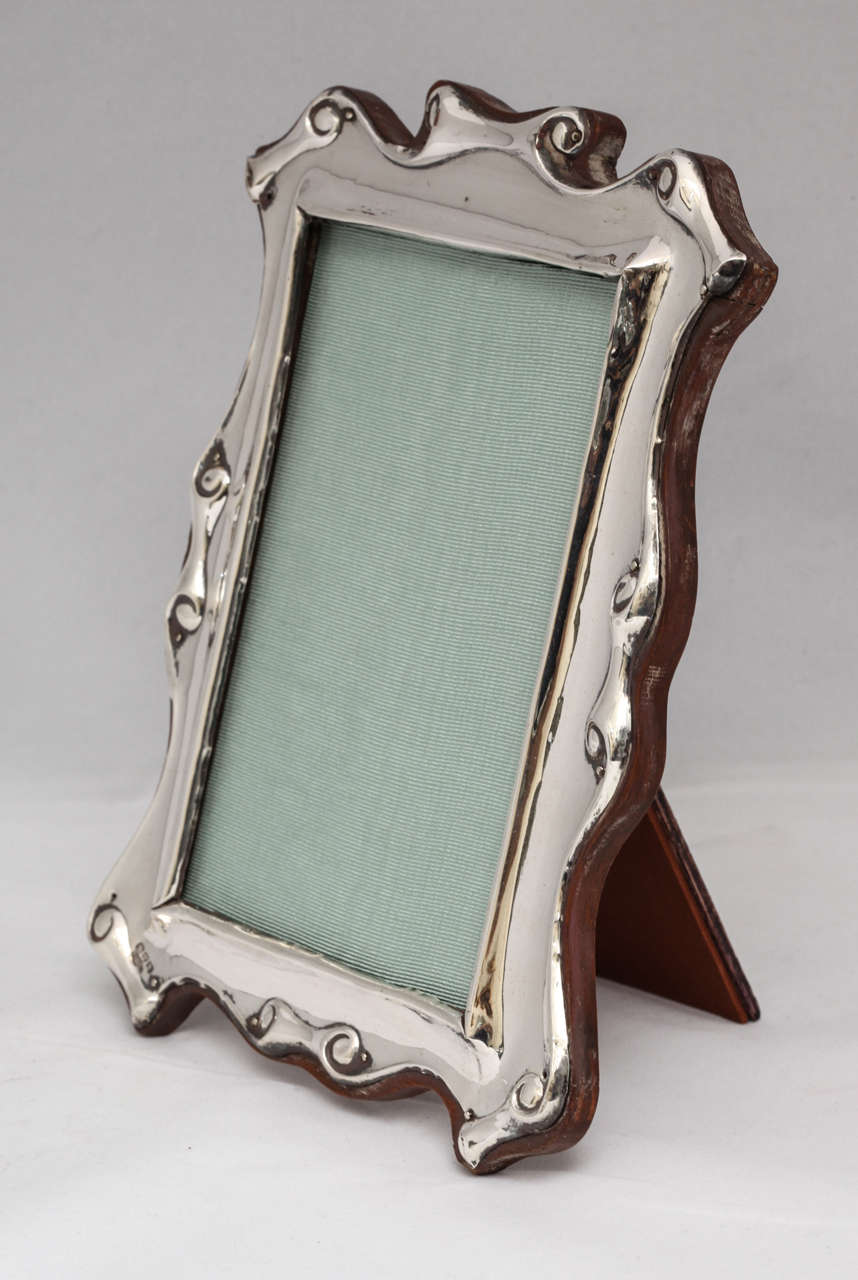 "Edwardian Sterling Silver ""Scroll"" Design Picture Frame For Sale 2"