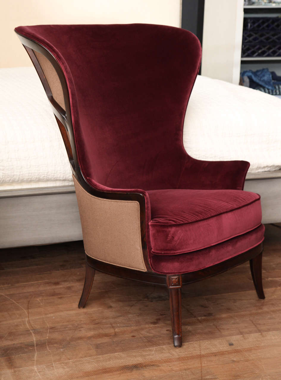 Exceptionnel Port Red Velvet Wing Chair Circa 1930 With Exposed Mahogany And Linen  Upholstered Back   Restored