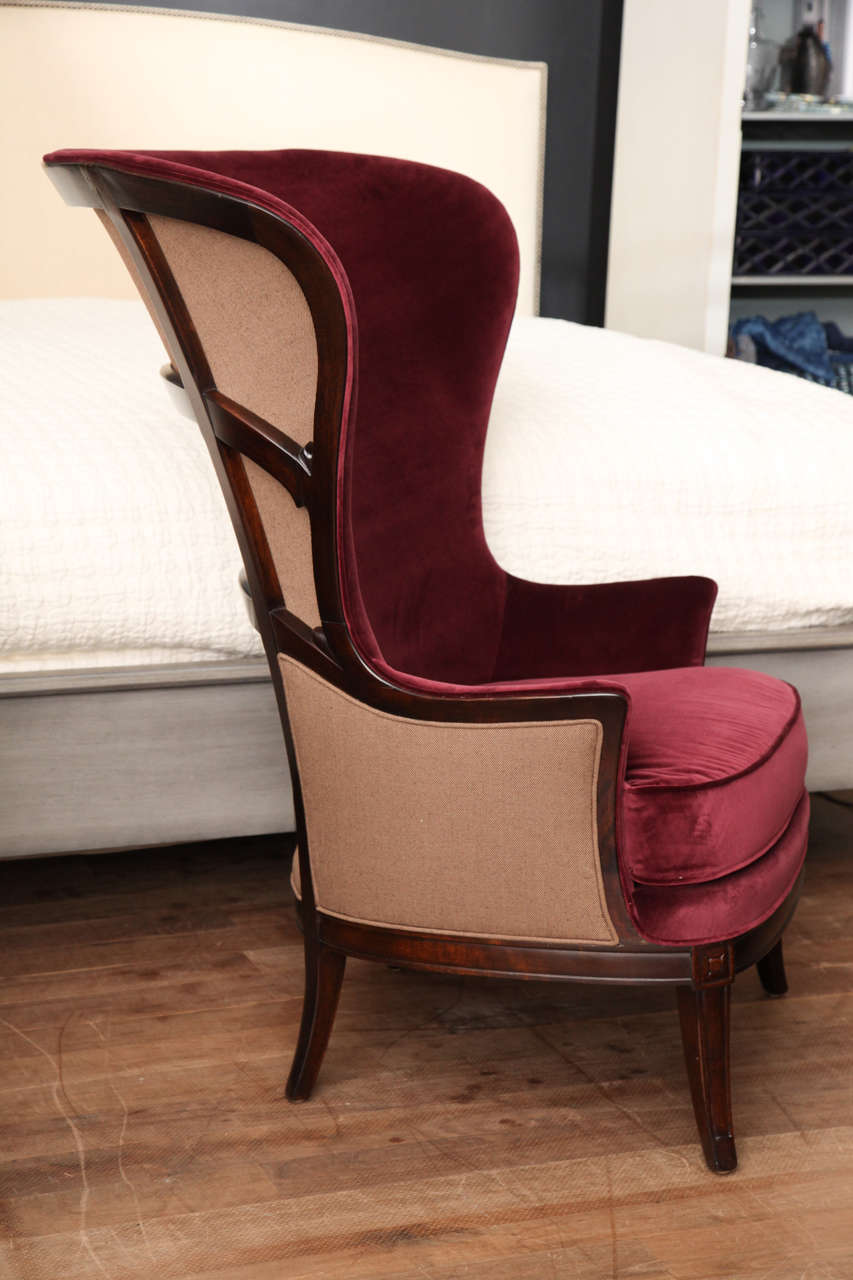 Delicieux American Red Velvet Wing Chair, Circa 1930 For Sale
