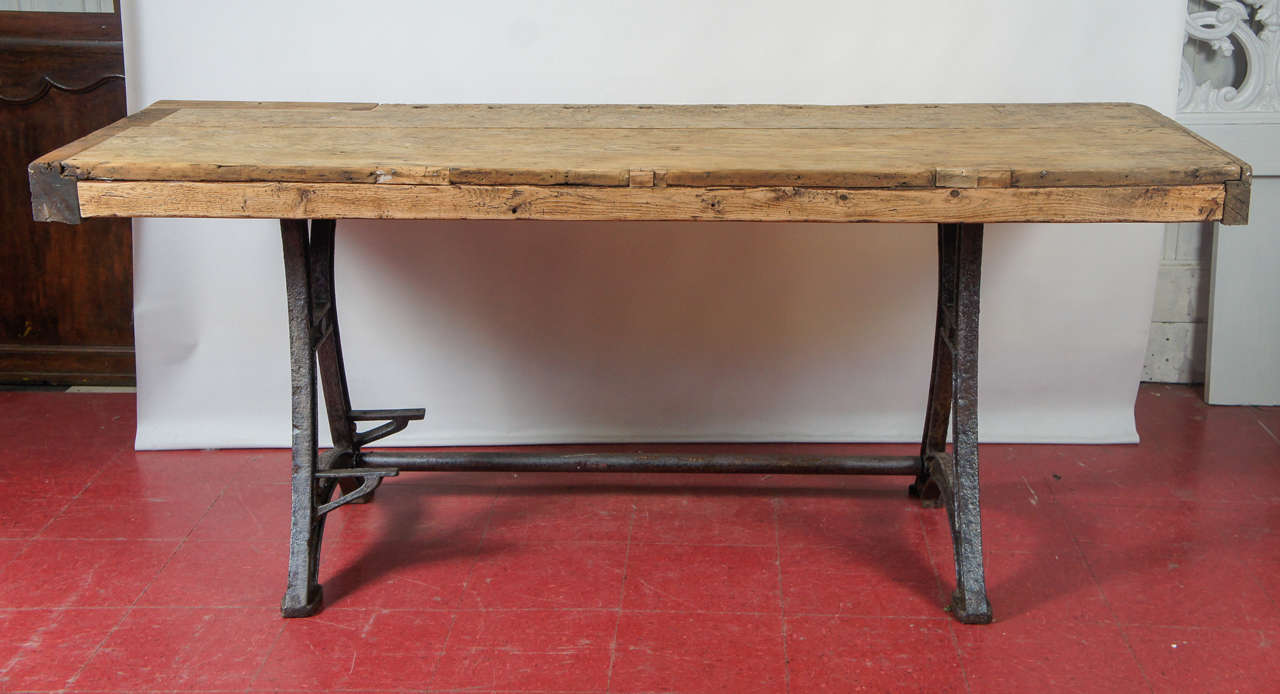 Industrial steel workbench kitchen island table at 1stdibs - Industrial kitchen island for sale ...