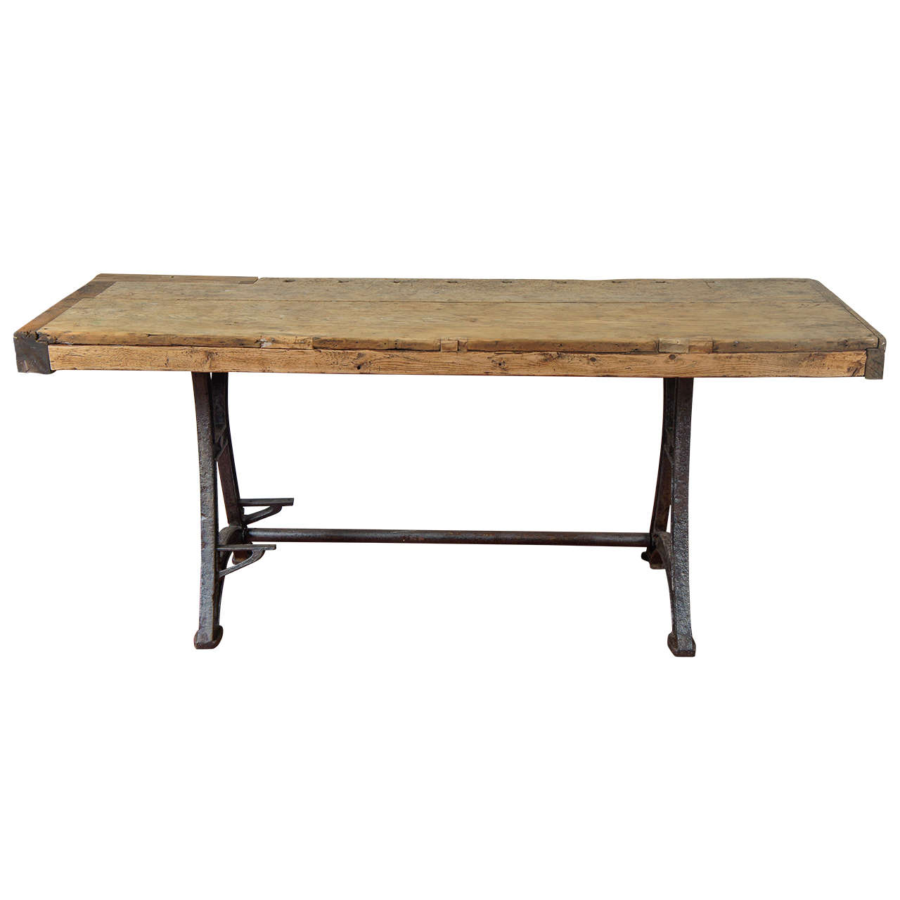Industrial steel workbench kitchen island table at 1stdibs - Steel kitchen tables ...