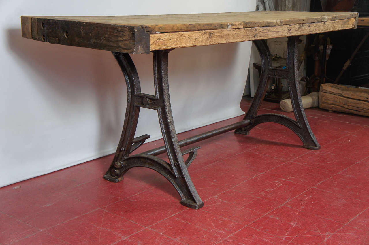 industrial steel workbench kitchen island table for sale love the old wooden workbench used as a kitchen island in