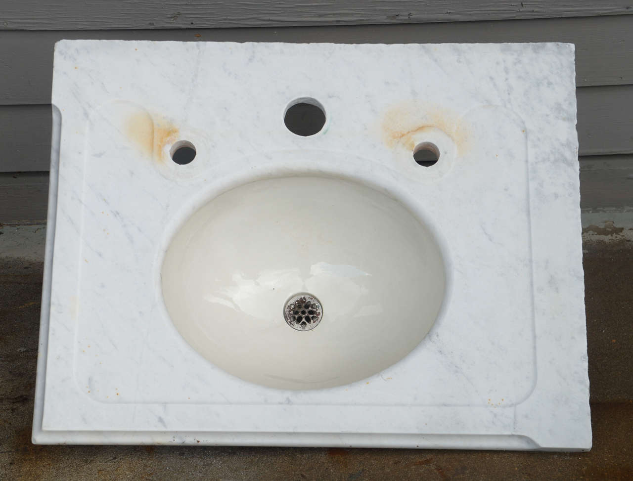 Beau Vintage Marble Vanity Sink Top With Newly Drilled Holes To Accommodate  Modern Fixtures. Some Rust