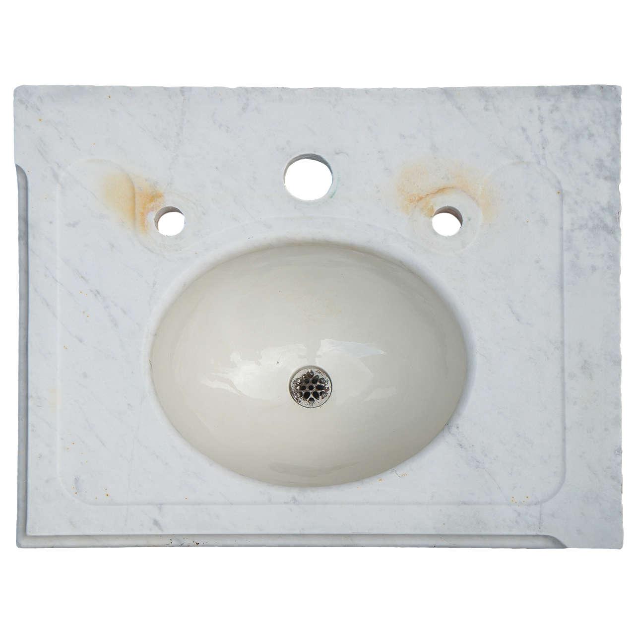 Vintage Marble Vanity Sink Top For Sale at 1stdibs
