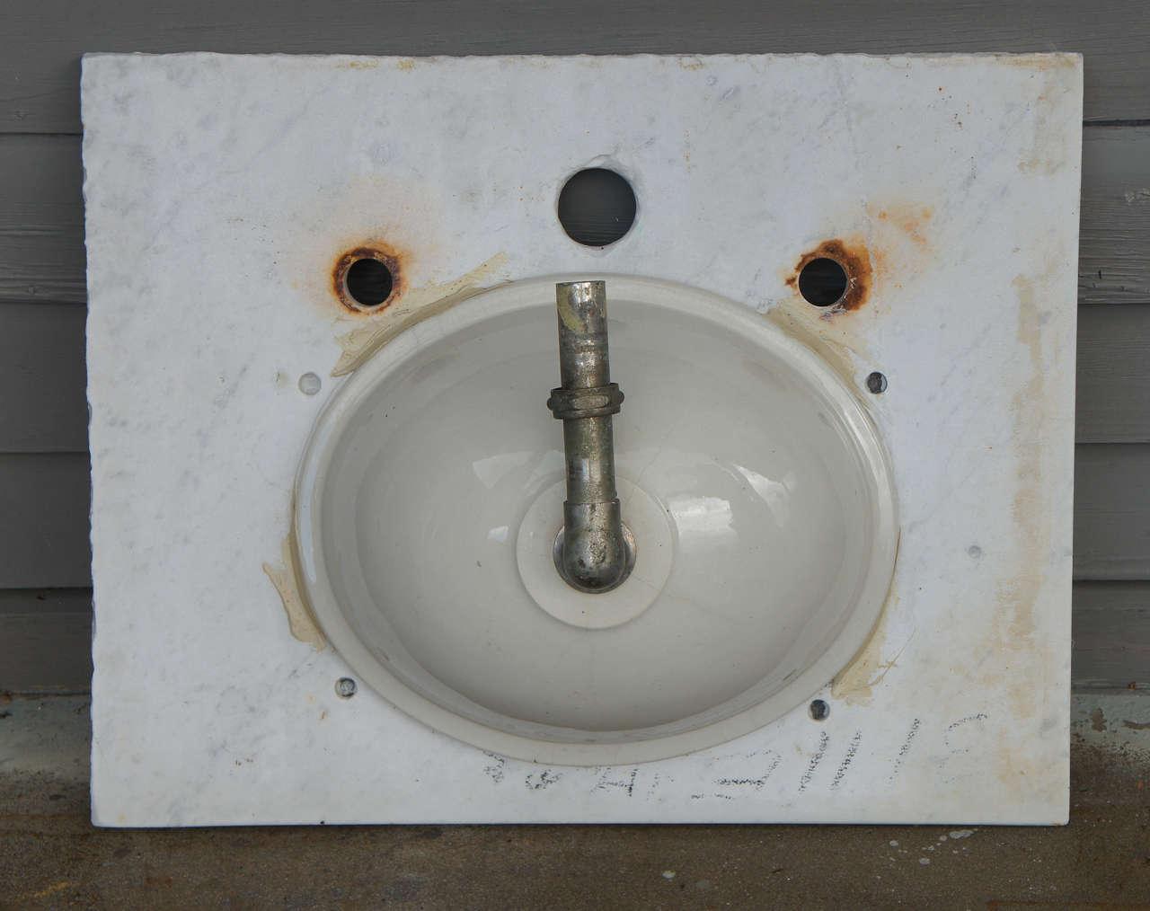 Vintage Marble Sink : Vintage Marble Vanity Sink Top For Sale at 1stdibs