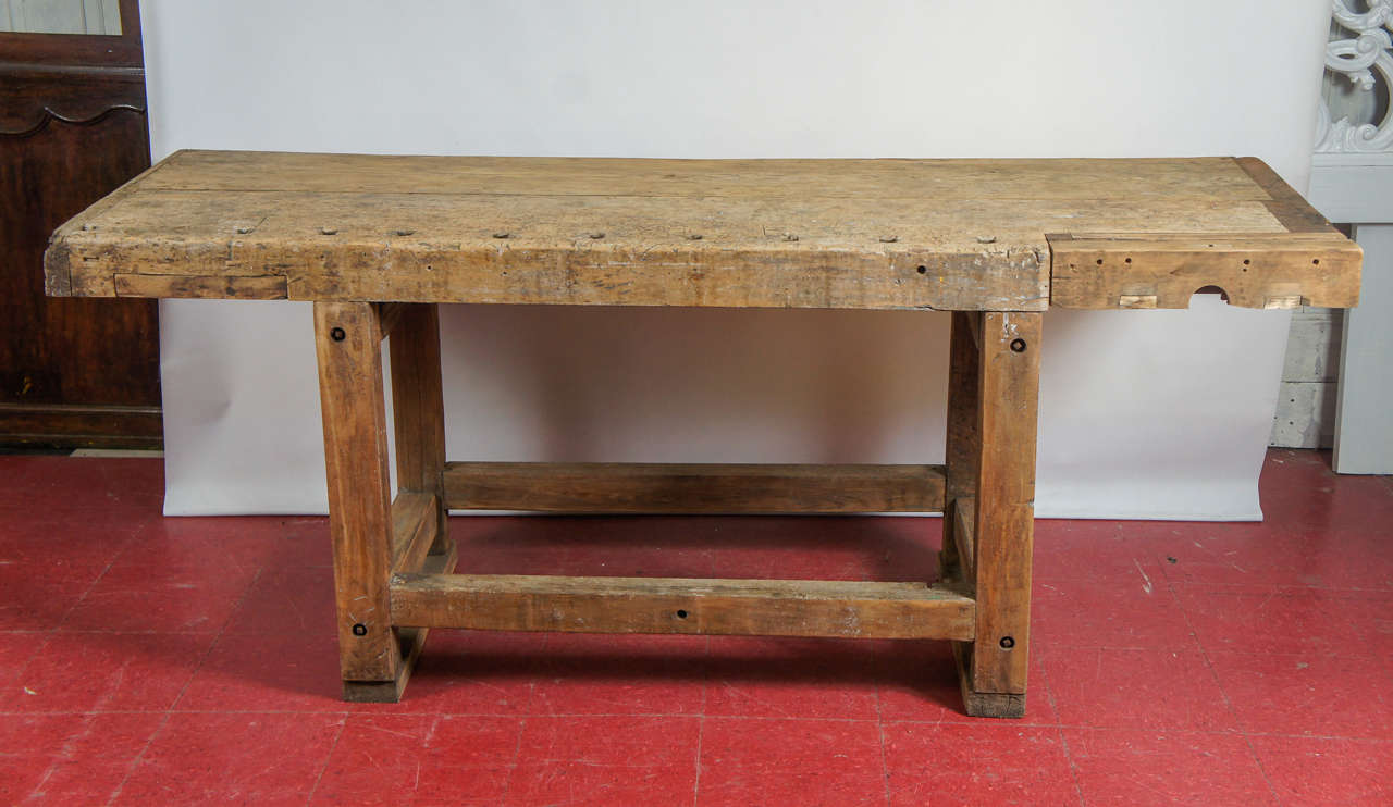 Rustic Country Workbench Or Kitchen Island Table Top With Wonderful Patina  Modified To Be Used As