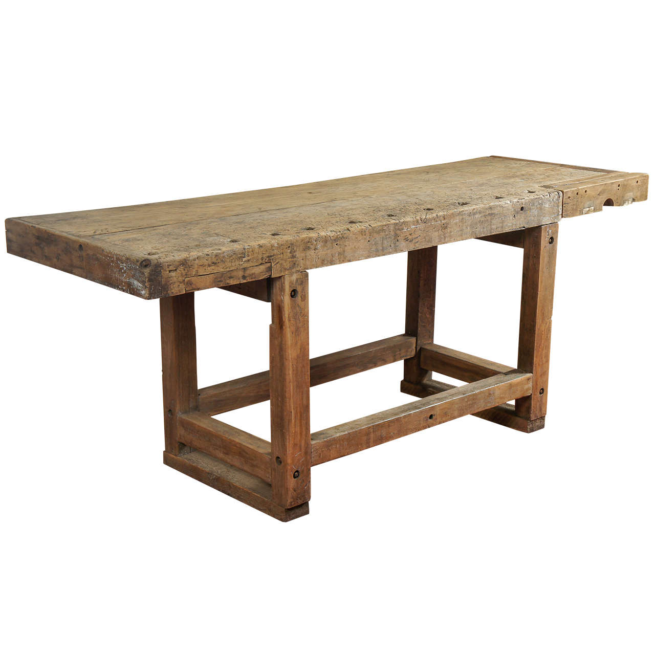 Industrial workbench kitchen island table at 1stdibs - Bench tables for kitchen ...