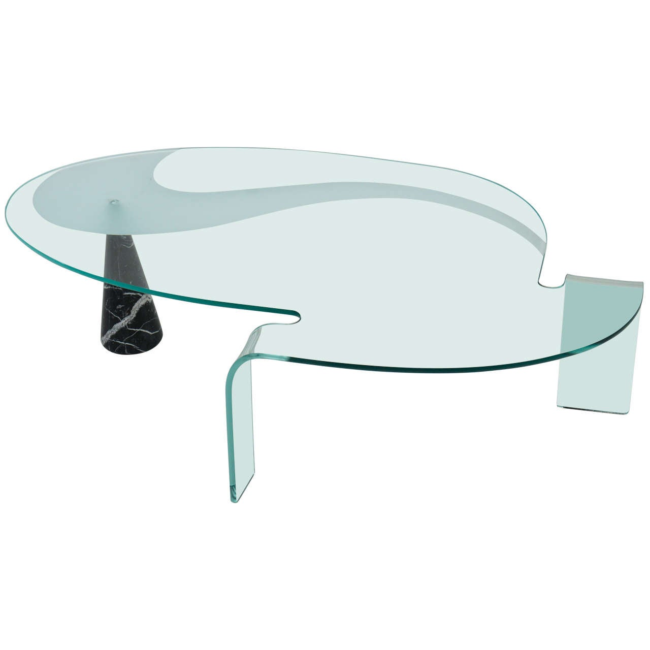 Post Modern Coffee Tables: Post Modern Glass And Marble Coffee Table At 1stdibs