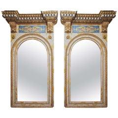 Pair of 18th Century Roman Trumeau Mirrors