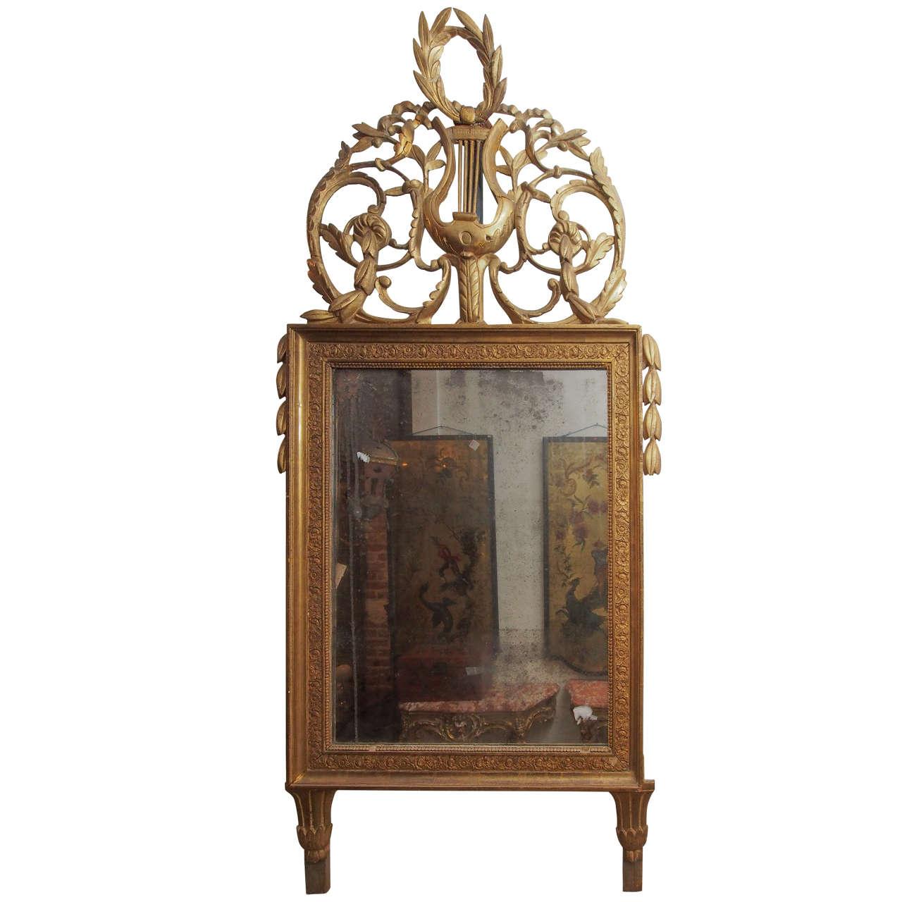 Napoleon I French Giltwood Trumeau Mirror