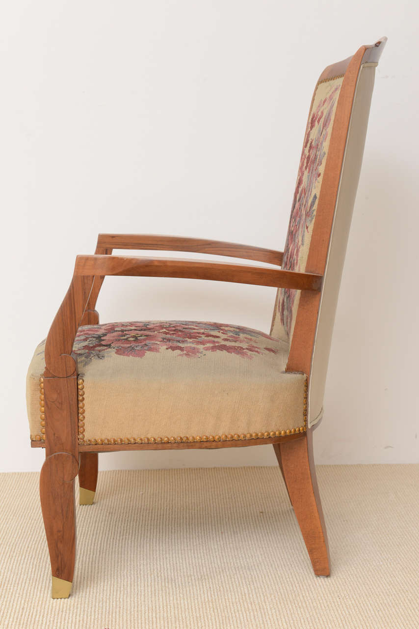 Fine Late Art Deco Mahogany Open Armchair in Original Tapestry, Jules Leleu For Sale 2