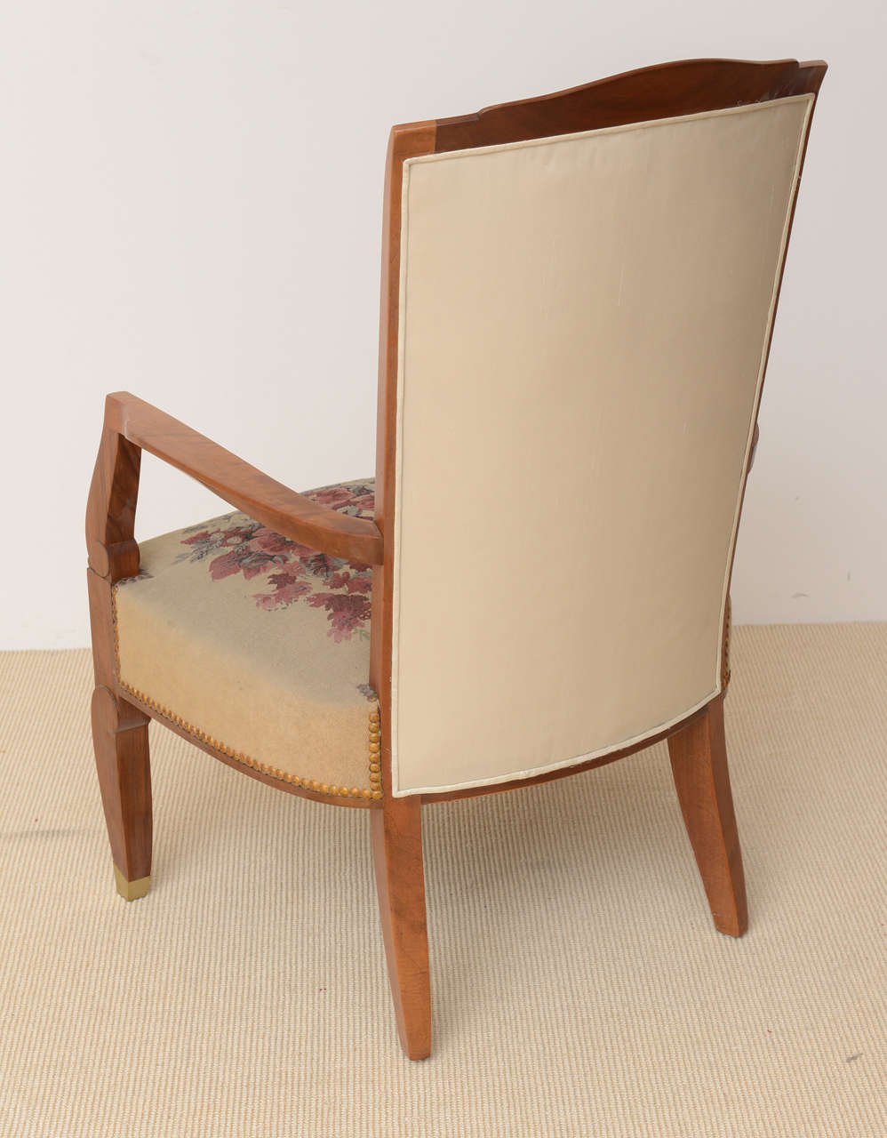 Fine Late Art Deco Mahogany Open Armchair in Original Tapestry, Jules Leleu For Sale 3
