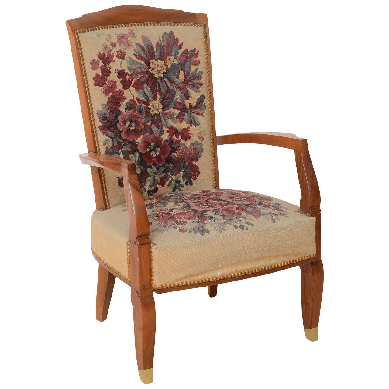 Fine Late Art Deco Mahogany Open Armchair in Original Tapestry, Jules Leleu