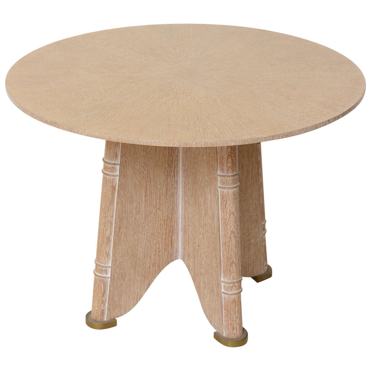 fine french cerused oak gueridon table by jules leleu for sale at 1stdibs. Black Bedroom Furniture Sets. Home Design Ideas