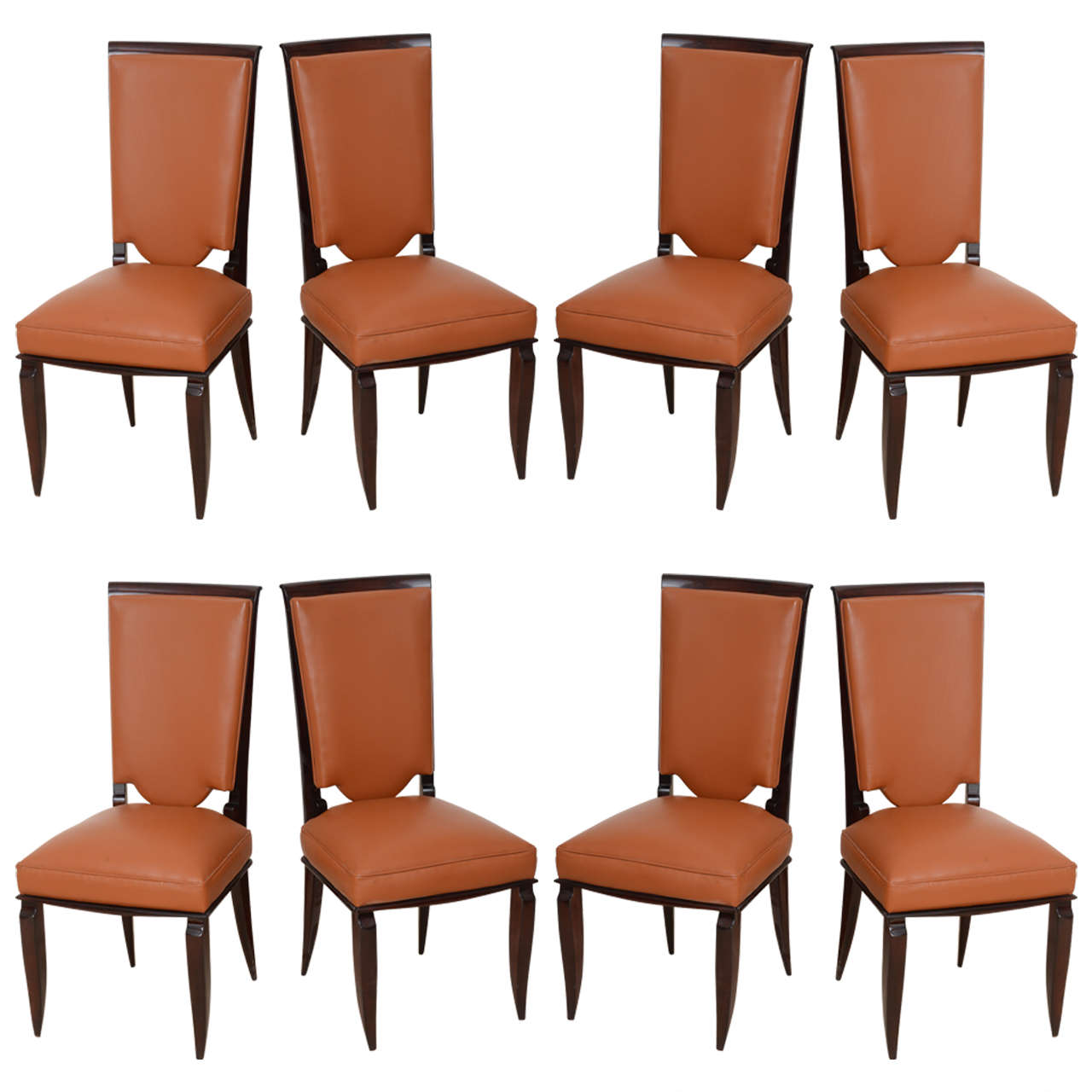 Fine Set of Eight Late Art Deco Ebony De Macassar Dining Chairs, Jules Leleu