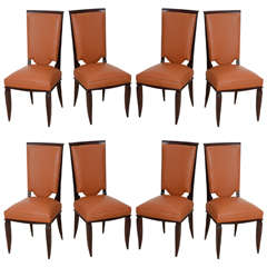Fine Set of Eight Late Art Deco Ebony De Macassar Dining Chairs, Jules Leleu