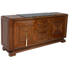 Fine Late Art Deco Mahogany and Marble-Top, Bronze-Mounted Buffet