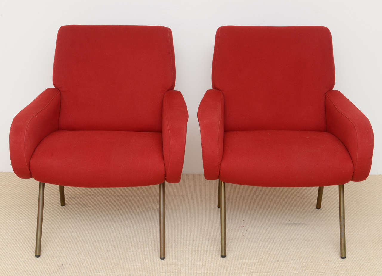 Classic lady chairs, originals, in original fabric designed by Zanuso for Arflex in 1951, outstanding condition.