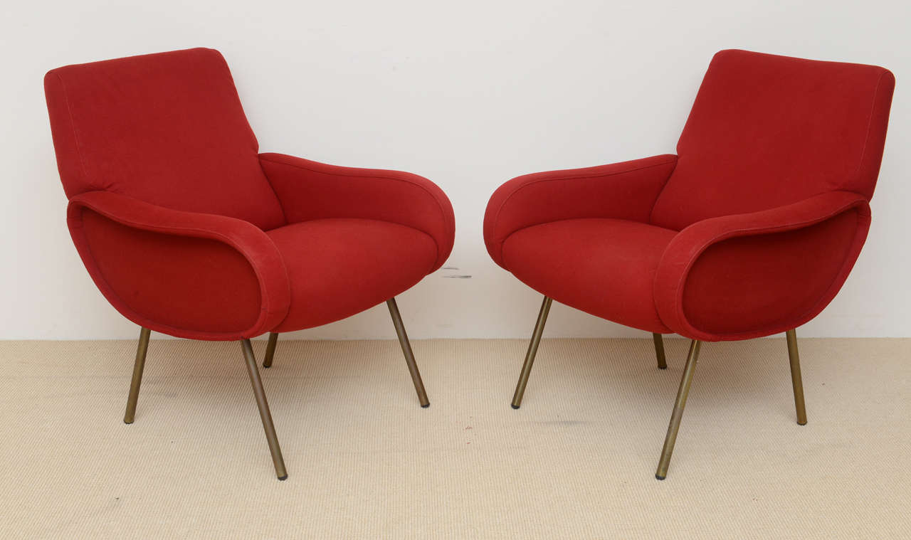 Mid-20th Century Pair of Italian Modern Armchairs, Marco Zanuso For Sale
