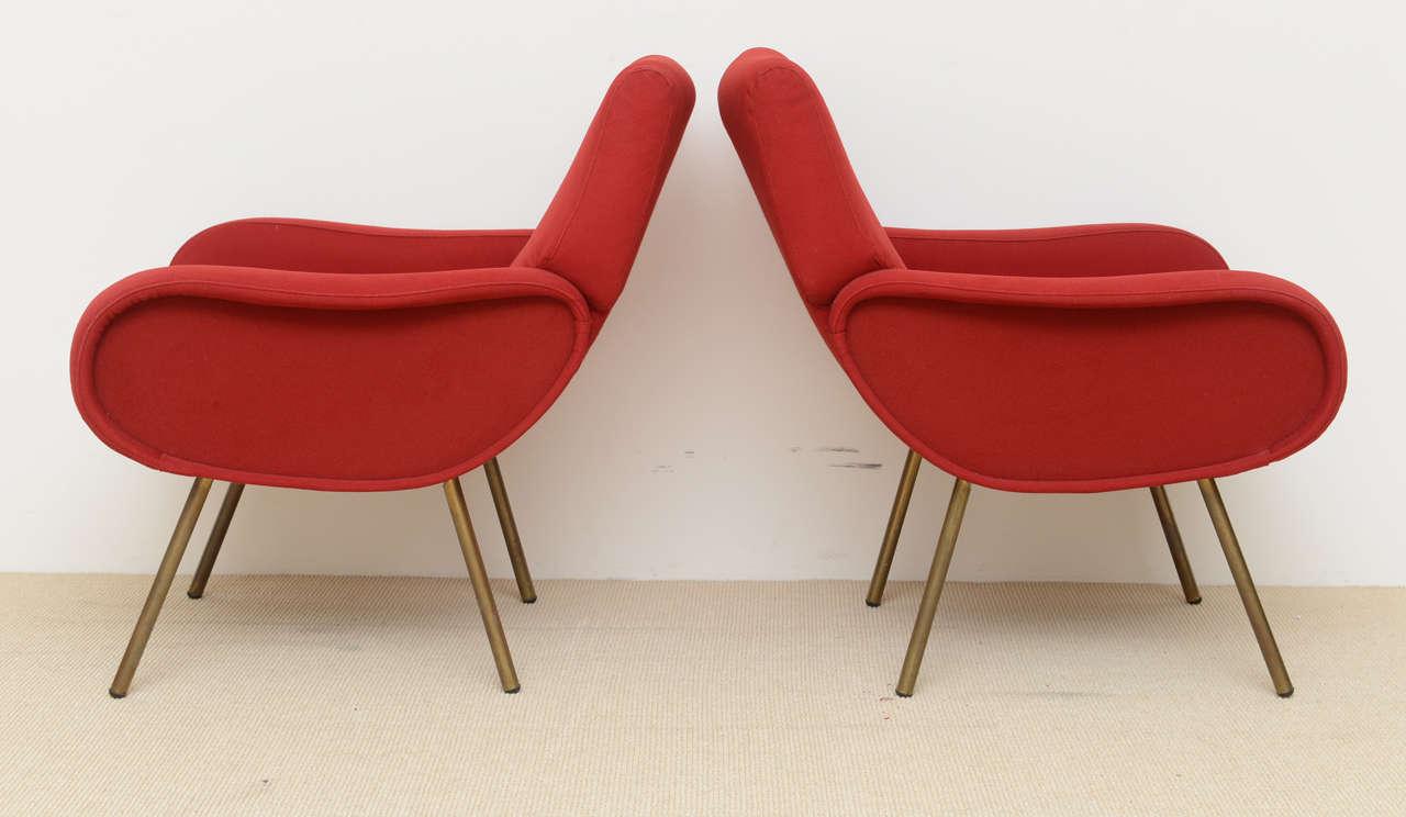 Metal Pair of Italian Modern Armchairs, Marco Zanuso For Sale