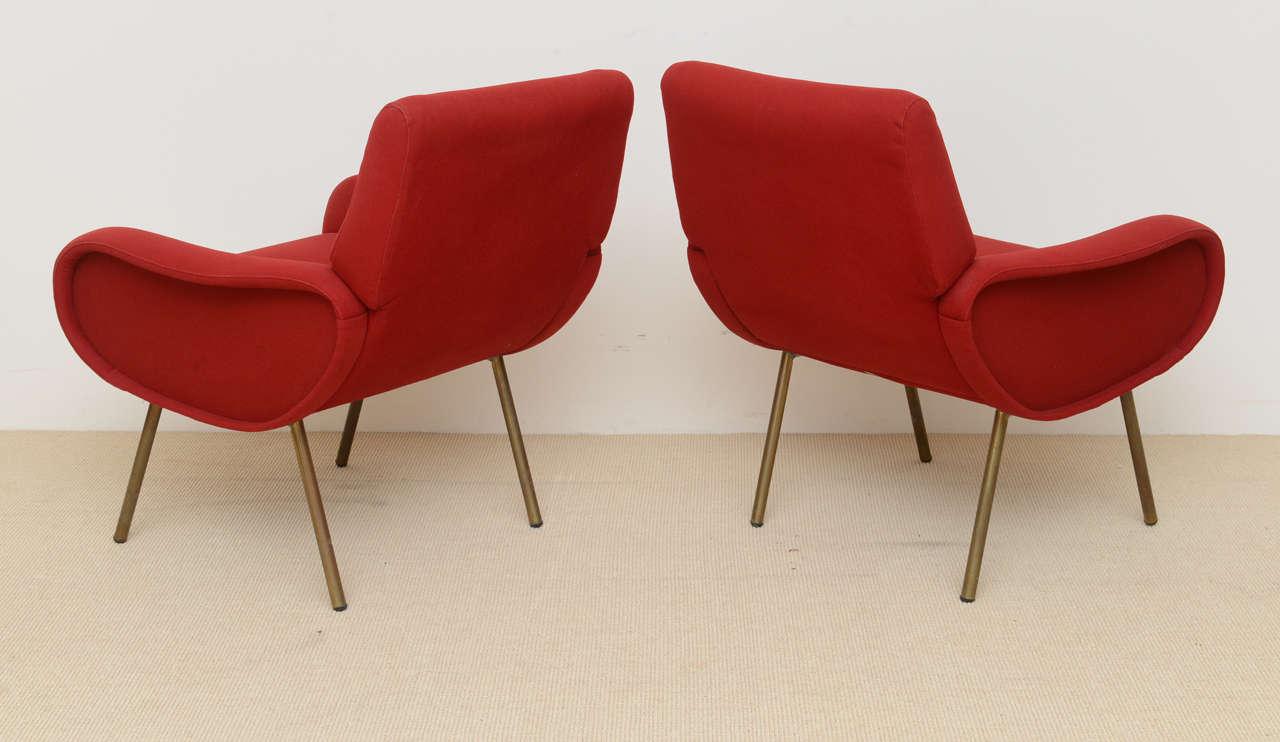 Pair of Italian Modern Armchairs, Marco Zanuso For Sale 1