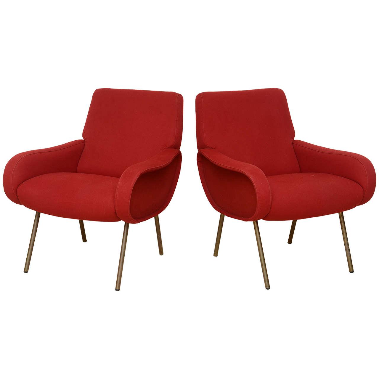 Pair of Italian Modern Armchairs, Marco Zanuso For Sale