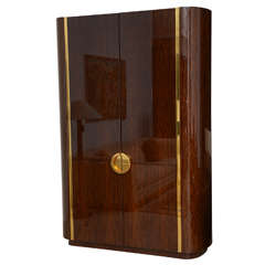 Fine and Monumental Size Karl Springer Mahogany and Brass Inlaid Cabinet
