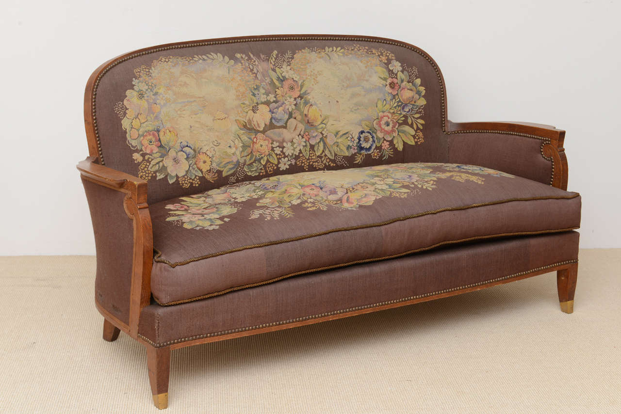 Rare and important suite of late art deco furniture by for Art deco living room chairs